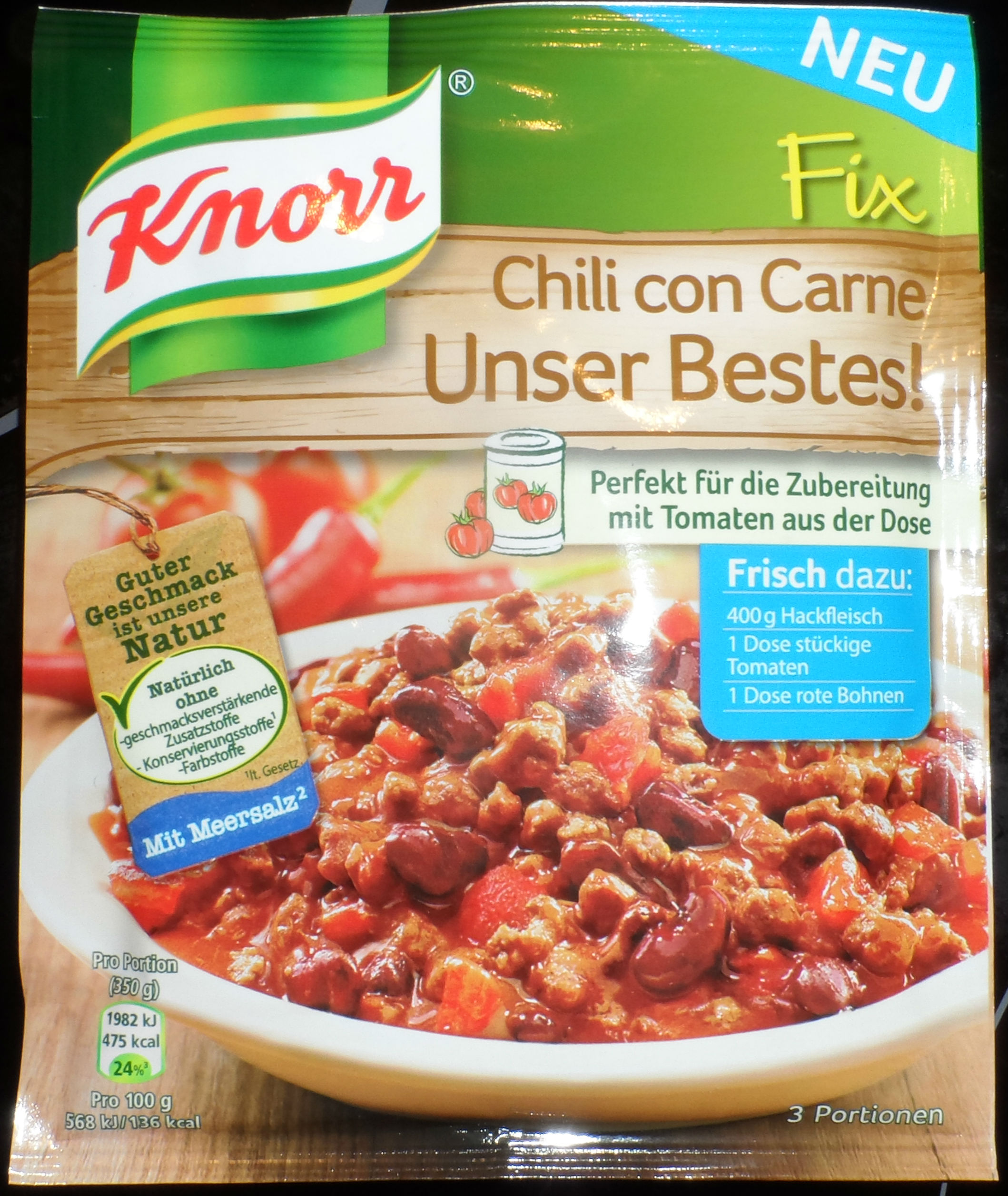 knorr fix chili con carne unser bestes testeritis. Black Bedroom Furniture Sets. Home Design Ideas